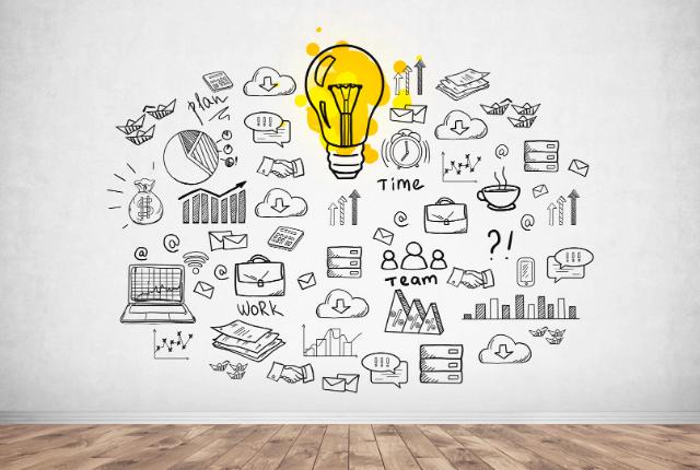 רעיונות, יצירתיות, מדיה ואייקונים עסקיים
