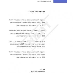 דוגמאת נייר מכתבים מקצועי - BIZZT